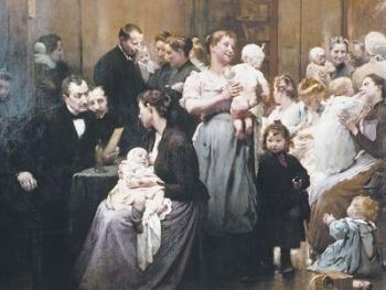 Le Dispensaire de la Goutte de lait à Belleville par Jean Geoffroy vers 1900, conservé au Musée de l'Assistance Publique dans le Ve arrondissement.