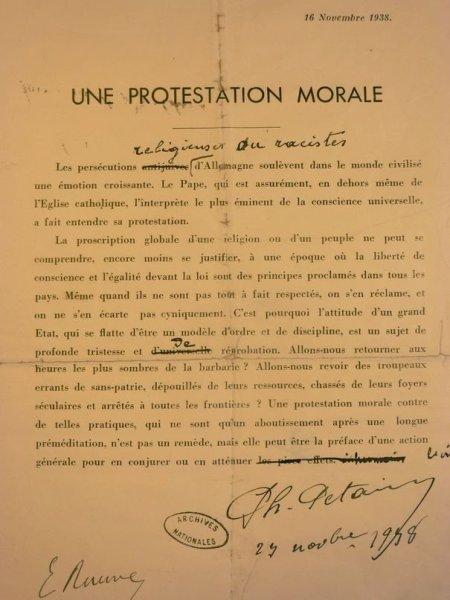 Protestation morale de Philippe Pétain