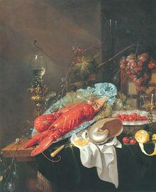 Nature morte aux deux homards, au nautile et aux fruits - Cornelis de Heem (1631-1695)