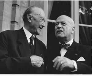 Conrad Adenauer avec André François-Poncet. Photo parue dans Le Figaro d'Octobre 1963