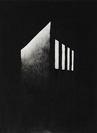"""Thomas Dussaix, """" Habitation aiguë """", Dessin, pierre noire sur papier, 80 x 60 cm, 2011, Prix David-Weill de l'Académie des beaux-arts"""