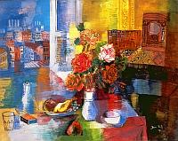 """Jean Dufy , """"Assiette de fruits et bouquet de roses à l'atelier"""", 1927 Huile sur toile, 73 x 92 cm, Collection privée"""