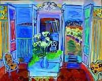 """Raoul Dufy, """"Intérieur à la fenêtre ouverte"""", 1928 , Huile sur toile 66 x 82 cm, Collection privée"""