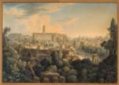 Le Mont Capitolin, l'une des Collines de Rome: Cette vue est prise des Ruines du Palais des César aujourd'hui jardins Farnèse, on distingue les Antiquités du Forum Romanum: <link:estampe> \/ L.F. Cassas et Bance f.; Piranesi