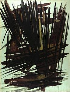 Hartung, Titre: T1956-9, date: 1956  Dimensions: 180 X 137 cm, huile, toile, collection de la Fondation Hartung Bergman