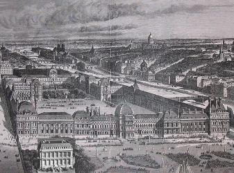 gravure du palais des Tuileries avec photo du château de La Punta incrustée au premier plan