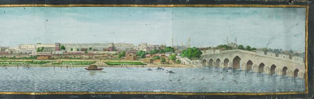 Lucknow vue de la Gomti , 1826, Aquarelle sur papier, Paul Mellon  Collection
