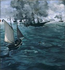 La bataille du S.S. Kearsarge et du C.S.S. Alabama, 1864 Huile sur toile, 134 x 127 cm Philadelphia, Musuem of Art