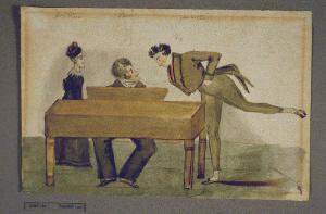 F.Paër: aquarelle Paër au piano, sa femme et Charles Bliga, le chanteur. Cité de la musique