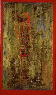 """Anna-Eva Bergman, """"N°20-1960 Miroir d'or sur fond rouge"""", 1960, 195x114 cm, Tempera et feuille de métal, Toile"""