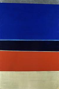 "Anna-Eva Bergman, ""N°8-1969 Grand horizon bleu "", 1969, 200 X 300 cm, vinyle, feuile métal , toile, 1969"