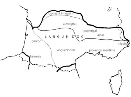 Carte du domaine d'oc