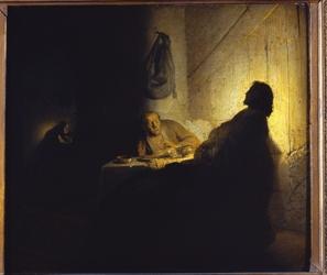 Le Repas à Emmaüs,vers 1629, huile sur papier marouflé sur bois, Paris, Institut de France, musée Jacquemart-André, INV. Rembrandt 11