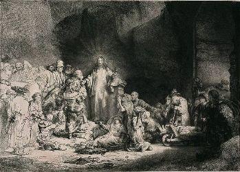 Le Christ prêchant (La Pièce aux cent florins), vers 1649, eau-forte, burin et pointe-sèche sur papier, Paris, Bibliothèque nationale de France, Rés. CB-13, Boîte II