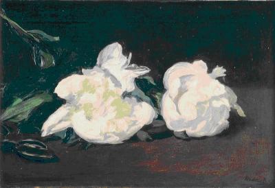 Branche de pivoine blanche et sécateur d'Édouard Manet