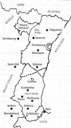 Carte de l'Alsace linguistique