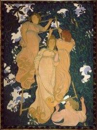 L'Echelle dans le feuillage. Ce premier plafond peint rappelle symboliquement l'échelle du songe de Jacob. Verticalité. Arabesques décoratives