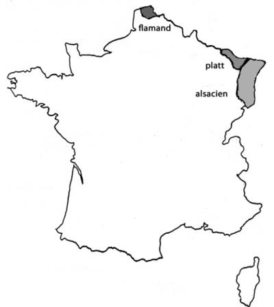 Carte des langues germaniques de France