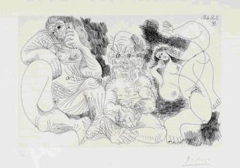 Pablo Picasso, Vieillard assis avec une femme et danseuse
