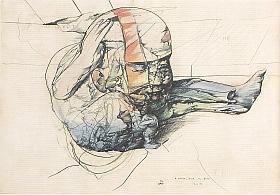 Miodrag Djuric, dit Dado, Sans titre- encre et aquarelle sur papier- 45 X 65 cm