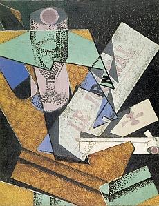 Verre et journal, janvier 1916 – Huile sur toile 41 x 33 cm