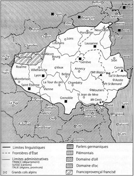Carte du domaine francoprovençal