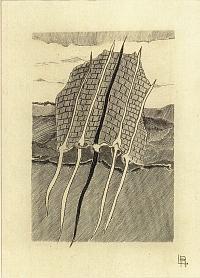 Louis-René Berge, L'envolée, gravure au burin