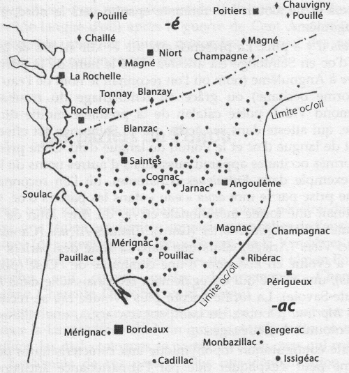 Carte des toponymes en {-AC} en Saintonge