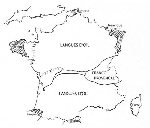 Carte des langue régionales en France métropolitaine