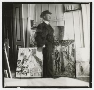 Autoportrait, 53 quai Am Strom, Warnemünde, 1907 Epreuve gélatino-argentique 9 x 9.4 cm