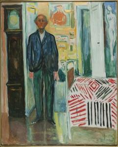 Autoportrait. Entre l'horloge et le lit, 1940-43 Huile sur toile 149,5 x 120,5 cm