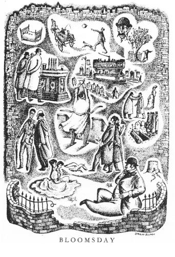 """La journée de Bloom constitue la journée d'Ulysse.Elle se déroule en un seul lieu (Dublin)0; elle est précisément datée (16 juin 1904) et retrace sous forme parodique l'Odyssée dans """"une coque de noix"""". (Coll.part.)"""