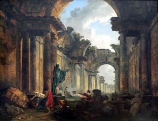 Vue imaginaire de la Grande Galerie du Louvre en ruines d'Hubert Robert