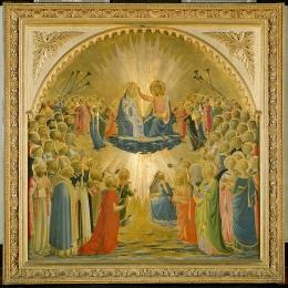 Fra Angelico (1387-1455), Le Couronnement de la Vierge, 1434-1435 Inv. 1890, n. 1612, tempera sur bois, 114 × 113 cm, Galerie des Offices, Florence