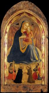 Fra Angelico, Vierge d'humilité avec saint Dominique, saint François, saint Jean-Baptiste, saint Paul et quatorze séraphins