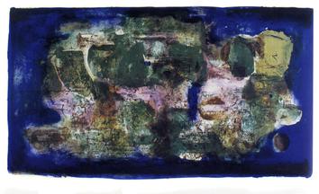 Zao Wou-Ki: Ville engloutie 1956 Lithographie originale en 6 couleurs, signée et datée au crayon. Ed. La Hune, Paris