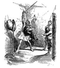 Don Quichotte combattant  une grande outre de vin (1849) par Jean Ignace Isidoire Gérard