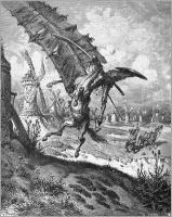 Don Quichotte combattant les moulins à vent sur son cheval, Rossinante (1863) par Gustave Doré