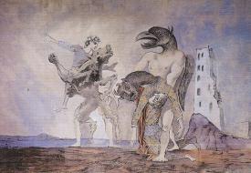 Pablo Picasso, La dépouille du Minotaure en costume d'Arlequin, rideau de scène pour Le 14 juillet de Romain Rolland (1936)