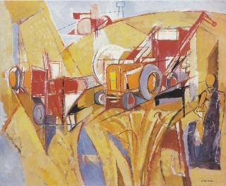 """Jasques Despierre, """"Blés et tracteurs"""", huile sur toile, 1967, 66X83 cm,"""