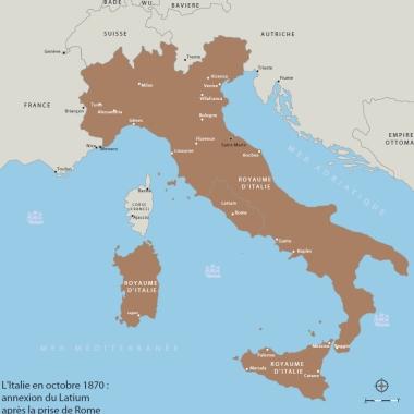 L'Italie en octobre 1870: annexion du Latium après la prise de Rome