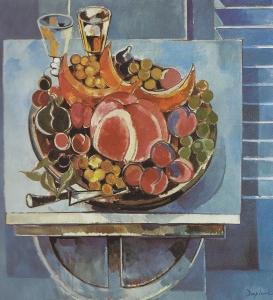 """Jacques Despierre, """"Pastèque et raisins"""", 1986, huile sur toile, 100x100 cm."""