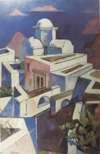 """Jacques Despierre, """"Santorin"""", 1976, huile sur toile, 100 x 81 cm."""