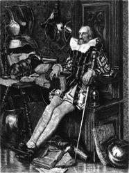 Don Quichotte dans sa bibliothèque.