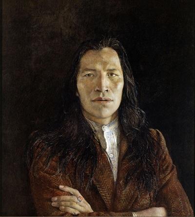 One of major works of Andrew Wyeth, Nogeeshik, 1972, détrempe à l'œuf sur panneau. Collection privée © Mona Bismarck American Center