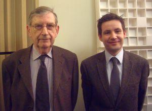 Philippe Contamine et Xavier Hélary dans le studio de Canal Académie