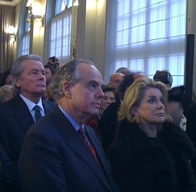 Cérémonie de remise de l'épée d'académicien de Régis Wargnier, lors de son installation au sein de l'Académie des beaux-arts, 1er février 2012