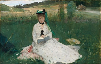 "Berthe Morisot, ""La Lecture"" ou ""L'Ombrelle verte"", v.1873 – Huile sur toile – 46 x 71.8 cm The Cleveland Museum of Art - Gift of the Hanna Fund 1950.89"