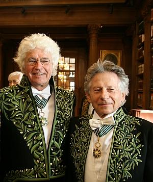 Jean-Jacques Annaud et Roman Polanski. Installation de Jean-Jacques Annaud au sein de l'Académie des beaux-arts 28 mars 2012