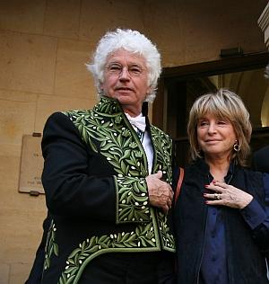 Jean-Jacques Annaud et Danièle Thompson. Installation de Jean-Jacques Annaud au sein de l'Académie des beaux-arts 28 mars 2012